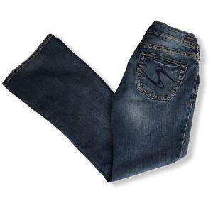 Silver Distressed Boot Cut Suki Blue Jeans 28/30